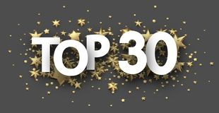 Top 30 sign with gold stars. Rating header. Top 30 sign with gold stars. Rating or hit-parade header. Vector background Stock Illustration