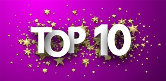 Top 10 sign with gold stars. Rating header. Top 10 sign with gold stars. Rating or hit-parade header. Vector background.r Stock Illustration