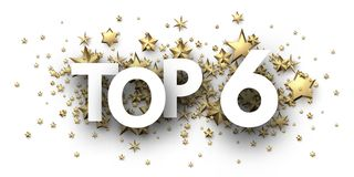 Top 6 sign with gold stars. Rating header. Top 6 sign with gold stars. Rating or hit-parade header. Vector background.r Stock Illustration