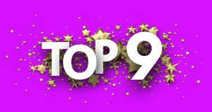 Top 9 sign with gold stars. Rating header. Top 9 sign with gold stars. Rating or hit-parade header. Vector background.r Stock Illustration