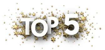 Top 5 sign with gold stars. Rating header. Top 5 sign with gold stars. Rating or hit-parade header. Vector background Vector Illustration