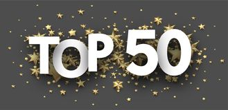 Top 50 sign with gold stars. Rating header. Top 50 sign with gold stars. Rating or hit-parade header. Vector background Vector Illustration