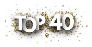 Top 40 sign with gold stars. Rating header. Top 40 sign with gold stars. Rating or hit-parade header. Vector background Vector Illustration