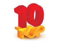 Top 10 sign. Golden top 10 wording or sign; isolated on white background. Ten Top Stock Image