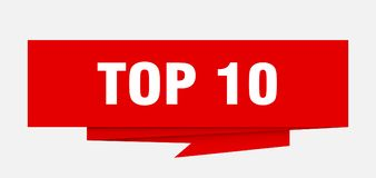 Top 10. Sign.  paper origami speech bubble.  tag.  banner Royalty Free Illustration