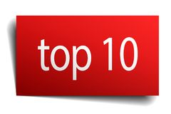 Top 10 sign. Top 10 square paper sign isolated on white background. top 10 button. top 10 Stock Illustration