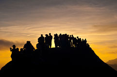 On Top. Silhouette of people at Bromo mountain, East Java, Indonesia Stock Photo