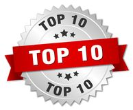 Top 10. Silver badge with red ribbon Vector Illustration