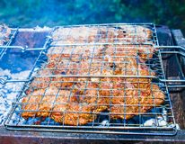 Barbecue on the grill. A top sirloin steak flame broiled on a barbecue, shallow depth of field Stock Images