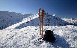 On the top by ski touring Stock Images