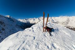 On the top by ski touring Stock Photos