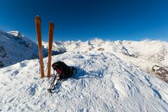 On the top by ski touring Royalty Free Stock Image