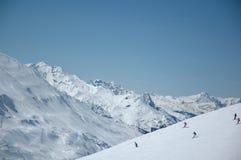 Top Skiing Region Arlberg. Beautiful Landscape of the Skiing Region Arlberg and surrounding mountains Stock Photo