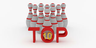 Top 10 skittles for bowling on white background Royalty Free Stock Image