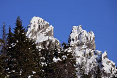 Top of snow-covered rocks. South-Ural mountain ridge Stock Photography