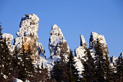 Top of snow-covered rocks. South-Ural, Yalangas ridge Royalty Free Stock Photography