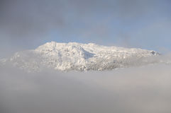Top of a snowy mountain viewed through a cloud Royalty Free Stock Images