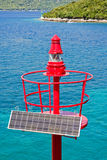 Top of the solar-powered lighthouse Stock Images