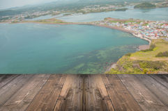 Top of SONGSAN ILCHULBONG in Jeju do with wooden view point, Sou. Th Korea Stock Image