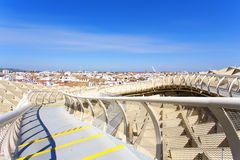 From the top of the Space Metropol Parasol, Setas de Sevilla, on. E have the best view of the city of Seville, Andalusia, Spain Stock Images