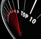 Top 10 Speedometer Scores Rising Achieve Best Ten Rating. Top 10 ratings or scores measured on a speedometer with needle racing and rising to illustrate best ten Royalty Free Stock Photo