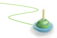 Top spinning. Spinning top toy movement leaves a trail Stock Image