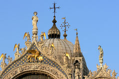 Top of St Mark`s Basilica in Venice royalty free stock image