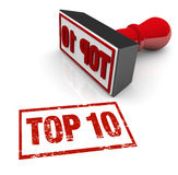 Top 10 Stamp Ten Best Approval Score Rating Review. Top 10 score on a stamp illustrating a best ten review, rating or achievement in a program of awards or Stock Images