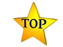 Top star. Gold star with blue TOP word Royalty Free Stock Image