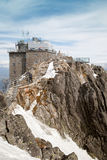 The top station of cable car in Slovakian mountains at Lomnicky peak Royalty Free Stock Photo