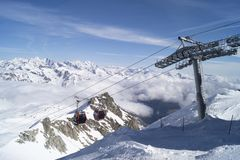 Free Top Station Of Cablecar In Alps Stock Photos - 130394843