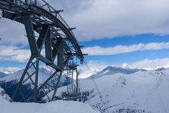 Top station of Paradiso cable car, Passo Tonale, Italy Royalty Free Stock Photo