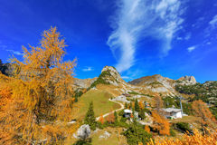 The top station of the Rofan Cable car during Autumn Stock Photo