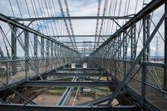 Top of a steel structured bridge. Steel framework at the top of transport bridge Stock Image