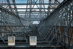 Top of a steel structured bridge. Steel framework at the top of transport bridge Stock Photo