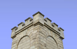 :  Top of a stone fortress tower isolated Stock Photos