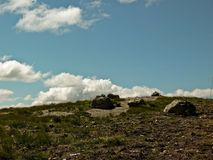 The top of the stone horley and the sky with clouds Stock Photo