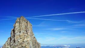 Top of stone mountains Titlis Stock Photo
