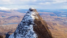 On top of Suilven Mountain in Scotland. Half snow covered stock image
