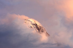 Top of the Swiss Eiger in clouds and evening sun Royalty Free Stock Photo