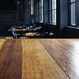 Top of table with Blurred Bar Cafe Restaurant Interior Stock Photography