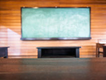 Top of table with Blurred blackboard background Royalty Free Stock Images