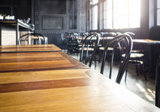 Top of table with Cafe Restaurant Interior background Royalty Free Stock Photo