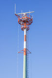 Top of tall antenna tower Stock Image