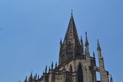 Top of the temple of the holy sacrament Guadalajara ,Mexico. Templo expiatorio del santisimo sacramento Top of the `Expiatory temple of the holy sacrament` in stock image