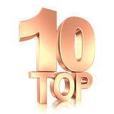 Top ten. Gold title isolated Royalty Free Stock Photography