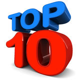 Top ten. Top 10 word on white background in color over white background, concept of top of the charts Stock Photo