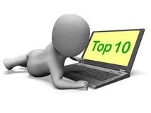 Top Ten Character Laptop Shows Best Top Ranking Royalty Free Stock Image