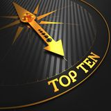 Top Ten Concept on Golden Compass. Royalty Free Stock Images