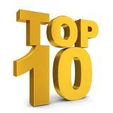 Top ten. 3d illustration on white background Stock Photos